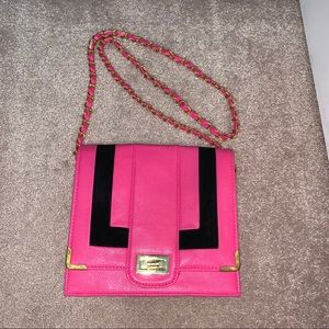 Pink Leather & Suede Envelope Bag
